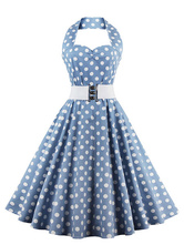 Vestido Vintage luz azul Polka Dot Halter feminino Flare vestido com cinto
