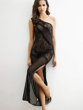 2 Piece Robe Set Black Lace Tulle Sheer One Shoulder Split Long Dress And Thong