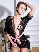 Black Sexy Robe Women's Bow Tulle Sheer Floral Printed Applique Ruffled Gown 3 Piece Set