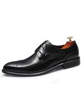 Black Dress Shoes Men's Cowhide Leather Almond Toe Ombre Lace Up Brogue Shoes