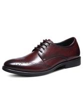 Men's Dress Shoes Round Toe Cowhide Brogue Shoes
