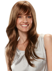 AF-S2-624857 Brown Hair Wigs Women's Natural Wave Heat-resistant Fiber Long Synthetic Wigs