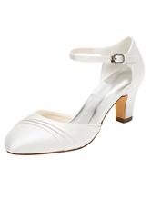 Sapatos de casamento sapatos de noiva de salto alto de marfim de salto alto com alça de tornozelo