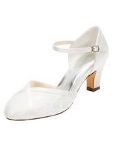 Chaussures de mariage en dentelle 2019 à talon haut ivoire rond bride à la  cheville Chaussures 8d948357096