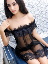 Black Sexy Gown Tulle Strapless Lace Ruffle Semi-Sheer Mini Dress Lingerie With Thong