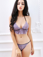 Sexy Bra Set Women's Purple Lace Halter Lace Up T-Back Ruffle Bra With Thong