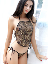 Women's Sexy Lingerie Gold Jacquard Halter Back Lace Up Camisoles With Thong