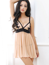 Flesh Bodycon Dress Tulle Strappy T-Back Adjustable Straps Mini Dress Lingerie With Thong