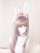 Sweet Lolita Headbands Cute Pink Bow Flower Lace Lolita Headband With White Bunny Ears