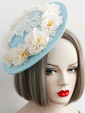 Sweet Lolita Headbands Vintage White Flowers Lace Classical Lolita Tea Party Hats In Ligh Blue Felt