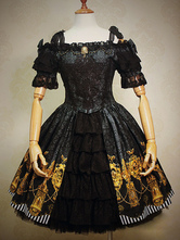 Gothic Lolita Dress Black Bow Printed Ruffles Jacquard Gothic Lolita Dress Suit With Lace Embroidered