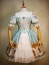 Gothic Lolita Dress Light Blue Lace Embroidered Bow Royal Printed Rococo Lolita Dress Suit With Ruffles