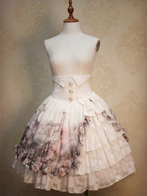 Classic Lolita Dress High Waist Ruffles Rose Garden Lolita Skirt