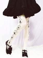 Gothic Lolita Socks Black Printed Cotton Gothic Lolita Stockings