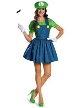Anime Costumes AF-S2-628825 Halloween Costume Mario Adults Women's Outfit Cosplay Two-Tone Pinafore Dress With Hat