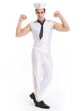 Anime Costumes AF-S2-628813 White Halloween Costume Men's Sailor Jumpsuit Costume