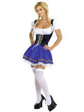 Sexy Girl Beer Costume Halloween Mulheres Lace up Color Block Dress Halloween