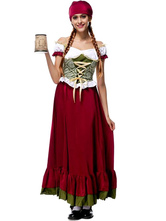 Anime Costumes AF-S2-628833 Halloween Costume Sexy Beer Girl Women's Lace-up Long Dress With Headband