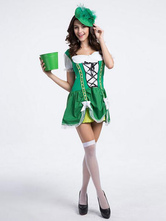 Anime Costumes AF-S2-628857 Halloween Costume Beer Girl Women's Green Bow Lace-up Maid Dress