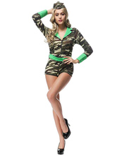 Anime Costumes AF-S2-626569 Halloween Sexy Jumpsuit Women's Slim Fit Camouflage Cop Costume