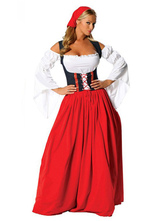 Anime Costumes AF-S2-628097 Halloween Sexy Costume Beer Girl Women's Color Block Open Shoulder Maxi Dress With Headgear