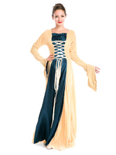 Anime Costumes AF-S2-630351 Women's Retro Costume Yellow Lace Up Two Tone Long Sleeve Maxi Dress