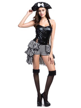 Anime Costumes AF-S2-630367 Halloween Sexy Pirate Costume Pirates Of The Carribbean Women's Layered PU Corset Dress With Hat