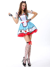 Anime Costumes AF-S2-630349 Halloween Costume Alice In The Wonderland Maid Costume Women's Color Block Blue Dress With Gloves