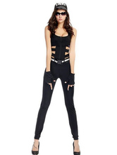 Anime Costumes AF-S2-630347 Halloween Sexy Costume Cop Outfits Women's Black Cut Out Jumpsuit With Hat