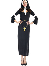 Anime Costumes AF-S2-628093 Halloween Sexy Costume Nun Women's Black Split Shift Dress With Cap