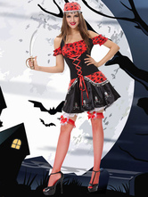 Anime Costumes AF-S2-628089 Halloween Sexy Costume Pirates Of The Carribbean Outfit Cosplay Women's Black Dress With Headgear