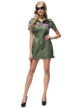 Anime Costumes AF-S2-626611 Halloween Costume Cop Women's Flag Pattern Belted Sexy Costume Dress