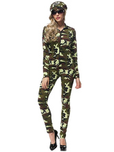 Anime Costumes AF-S2-626619 Sexy Costume Cop Jumpsuits Halloween Women's Camouflage Costume Outfit
