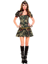 Anime Costumes AF-S2-630353 Sexy Cop Costume Halloween Women's Camouflage Skater Dress With Hat