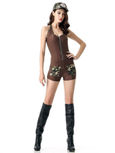 Anime Costumes AF-S2-628851 Halloween Sexy Costume Women's Cop Outfit Bodycon Playsuit With Hat