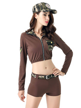 Anime Costumes AF-S2-636595 Halloween Sexy Cop Costume Camo Outfit Women's Short Pants With Crop Tops In 3 Piece
