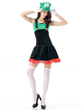 Anime Costumes AF-S2-628849 Halloween Costume Super Mario Bros Women's Outfit Cosplay Two-Tone Dress With Hat