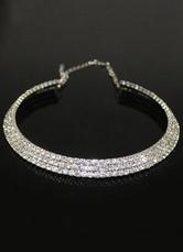 Silver Wedding Necklace Round Rhinestone Bridal Jewelry
