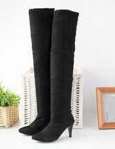 Black High Boots Middle Heel Women's Over Knee Boots