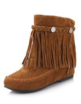 Botas boêmio franja feminino redonda Toe Cowgirl plana botas curtas