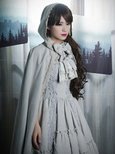 Lolitashow Gothic Lolita Coat Vintage Ghost Bride Lace Suede Bow Hooded Gray Lolita Cloak