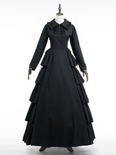 Anime Costumes AF-S2-630343 Black Retro Costume Victorian Vintage Dress Women's Cotton Long Sleeve Ruffle Lace Up Maxi Dress