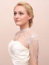 Bridal Shoulder Necklace Silver Chains Rhinestones Statement Bridal Necklace