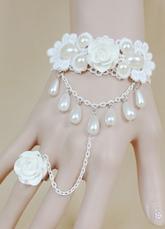 Lolitashow Süße Lolita Armband mit weisser Spitzen Rose Perlen