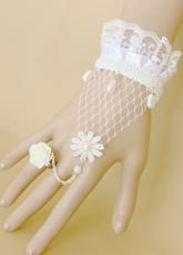 Lolitashow Sweet Lolita Bracelet White Rose Lace Mesh Pearls Bracelet Romantic Lolita Jewelry