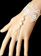 Lolitashow Classical Lolita Bracelet White Lace Pearls Romantic Lolita Bracelet