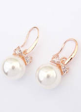 White Wedding Earrings Vintage Dangle Earrings Bow Alloy Pierced Bridal Earrings