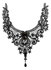 Lolitashow Gothic Lolita Necklace Black Lace Cut Out Heart And Flower Lolita Choker Collar