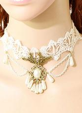 Lolitashow White Lolita Necklace Lace Beads Rococo Lolita Choker Jewelry