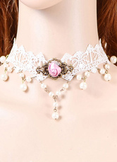 Lolitashow Classical Lolita Necklace Rose Lace White Lolita Choker